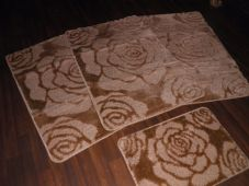 ROMANY WASHABLES MATS 4PCS NON SLIP NEW SUPER THICK ROSES DARK/BEIGE BISCUIT